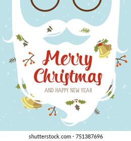 vector cartoon style santa beard Merry Christmass and Happy New Year greeting card