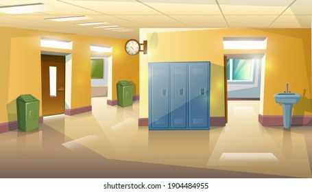 Vector cartoon style school hall with doors and classes, rubbish and sink.