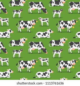 Vector cartoon style seamless pattern with cows with calfs grazing at the meadow. Green background.