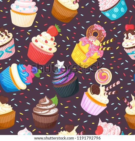 d16f2dfaec33 Vector cartoon style seamless pattern with sweet cupcake. Yummy dessert  decorated with doughnut