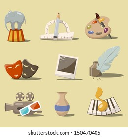 Vector cartoon style set with art icons