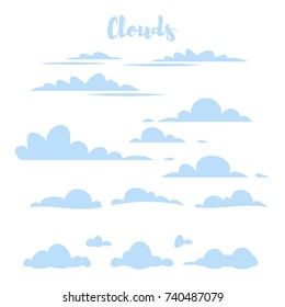 Vector cartoon style set of blue simple clouds for your design. Isolated on white background.