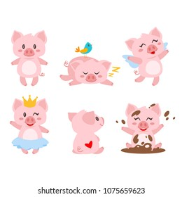 Vector cartoon style set of cute pink pig character in different poses. Isolated on white background.