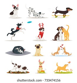 Vector cartoon style set of different dog breeds. Dogs sitting, eating and running.