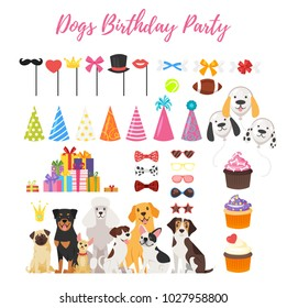 Vector  cartoon style set of Dog party and Birthday elements for your design - dogs, cone holiday hats and canine treat.