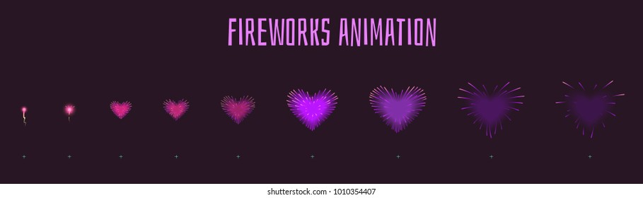 Vector cartoon style set of game violet heartshape fireworks explode effect burst sprites for animation. Game user interface (GUI) element for video games, computer or web design. Explosion frames.