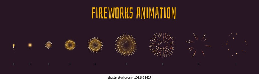 Vector cartoon style set of game yellow fireworks explode effect burst sprites for animation. Game user interface, GUI, element for video games, computer or web design. Explosion frames.