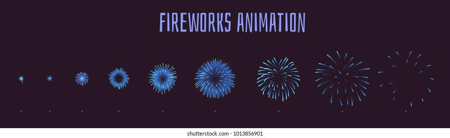Vector cartoon style set of game blue fireworks explode effect burst sprites for animation. Game user interface (GUI) element for video games, computer or web design. Explosion frames.
