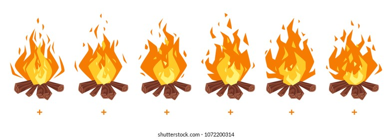 Vector cartoon style set of game camp fire sprites for animation. Game user interface (GUI) element for video games, computer or web design. Bonfire burning frames.