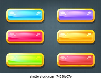 Vector cartoon style set of game colorful buttons. Game user interface (GUI) element for video games, computer or web design. Options selection window.