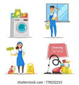 Vector cartoon style set of illustrations or banners with stuff and cleaning service characters. Household concept.