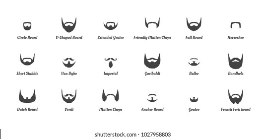 Vector cartoon style set of man different  fashion beards and mustaches silhouettes. Facial hair types guide on white background.