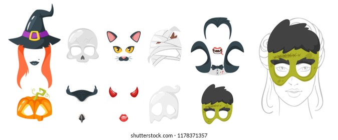 Vector cartoon style set of spooky face element or carnival mask. Halloween decoration item for your selfie photo and video chat filter. Isolated on white background.