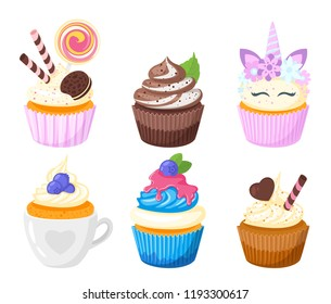 Vector cartoon style set of sweet cupcakes. Muffin isolated on white background. Yummy dessert decorated with blackberry, chocolate and round lollipop candy.