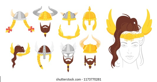 Vector cartoon style set of viking face element or carnival mask. Decoration item for your selfie photo and video chat filter. Viking horned helmets and beards. Isolated on white background.