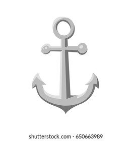 Vector cartoon style ship anchor. Icon for web. Isolated on white background.