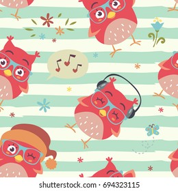 vector cartoon style striped owl seamless pattern