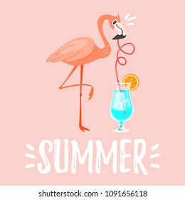 Vector cartoon style summer design for season postcard or poster background with pink flamingo drinking blue cocktail.