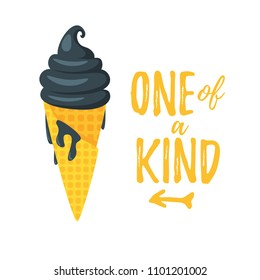 """Vector cartoon style summer design for season postcard or poster background with black ice cream. White background. Concept with """"One of a kind"""" text."""