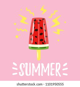 Vector cartoon style summer design for season postcard or poster background with watermelon ice cream. Pink background.