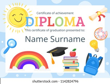 Vector cartoon style template layout for kids diploma certificate for kindergarten, school or preschool with educational icons.