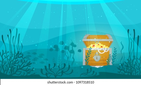 Vector cartoon style underwater background with sea flora and fauna. Coral reef, sea plants and fishes silhouettes. Open treasure chest full of gold at the bottom of the sea.