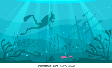 Vector cartoon style underwater background with sea flora and fauna. Coral reef, sea plants and fishes silhouettes. Scuba Diver explores ship wreckage at the bottom of the ocean.
