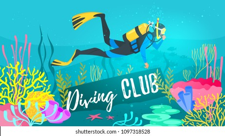 Vector cartoon style underwater background with sea flora and fauna. Coral reef, sea plants and fishes silhouettes. Scuba Diver explores the bottom of the sea. Diving club banner.