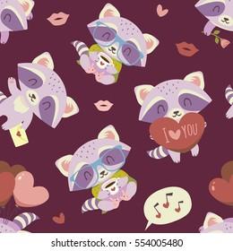 vector cartoon style valentine's day raccoon seamless pattern