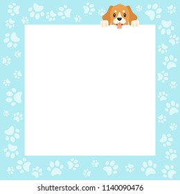 Vector cartoon style video and photo frame background for editing. Cute puppy on the border with footprints paws.