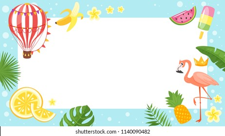 Vector cartoon style video and photo frame background for editing. Summer season and vacation theme.