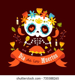 vector cartoon style violet day of dead  dia de los muertos skeleton girl illustration