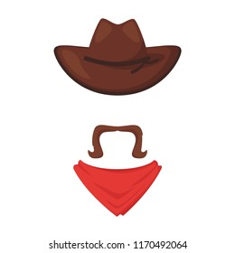 Vector cartoon style Wild West cowboy face element or carnival mask. Decoration item for your selfie photo and video chat filter. American symbols. Isolated on white background.