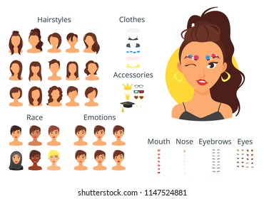 Vector cartoon style woman avatar constructor with different face items: lips, noses and haircuts.
