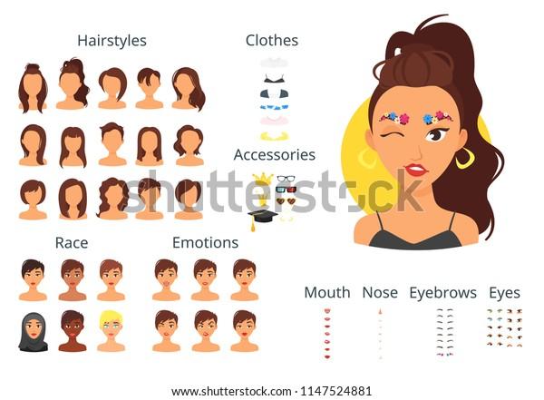 Vector Cartoon Style Woman Avatar Different Stock Vector