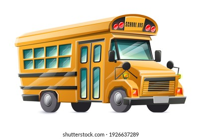 Vector cartoon style yellow  school bus car, isolated on white background.