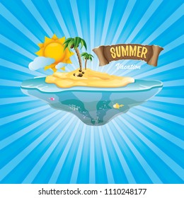 vector cartoon summer label with island tropical beach, sun, palm trees, clouds and vintage ribbon for text. summer fun vector design elements set isolated on blue background wit rays of light