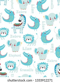vector cartoon summer tropical pattern with animals, cute design for textile, wallpaper, print in scandinavian style, funny lion, crocodile, zebra and elephant