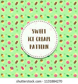 vector cartoon sweet delicious ice cream and muffin seamless pattern motive template in green background