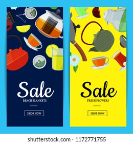 Vector cartoon tea kettles and cups web banner and poster templates illustration