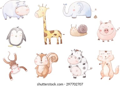 Vector cartoon of ten baby animals