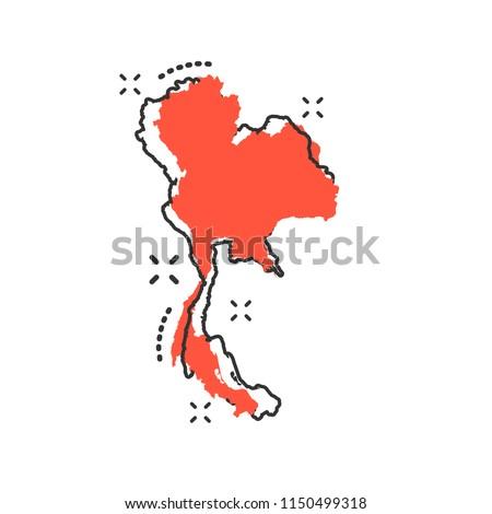 Vector Cartoon Thailand Map Icon Comic Stock Vector (Royalty Free ...