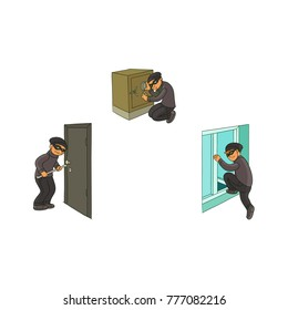 vector cartoon thief burglar housebreaker in mask entering victim's house through window, robber breaking door by crowbar, another One opening safe box. Isolated illustration on a white background.