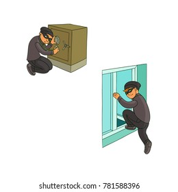 vector cartoon thief burglar housebreaker in mask, breaking and entering in a victim's house through window, another One opening safe box. Isolated illustration on a white background.