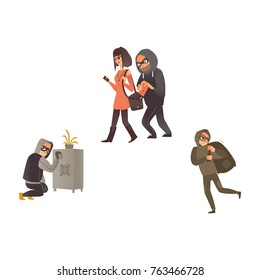 vector cartoon thief scenes set. Man burglar in hood pickpocket stealing wallet from the handbag of beautiful woman, robber in mask running holding bag with stolen money, criminal opening safe box