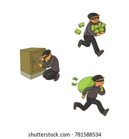 vector cartoon thief scenes set. Man burglar in mask running with banknotes piles in hands, robber in mask running holding bag with stolen money, criminal opening safe box. Isolated illustration