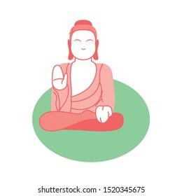 Vector Cartoon Tian Tan Buddha Illustration Isolated
