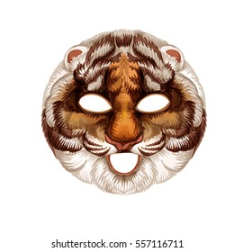 Vector cartoon tiger carnival mask. Children mask. Decoration.