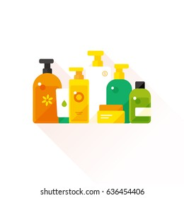 vector cartoon toiletry collection / sign and icon template / on white background