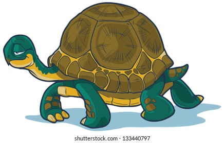 Vector cartoon tortoise walking forward with a slow, steady gait.  great for illustrating concepts about steadfastness, racing with hares, or just plain old slowness.